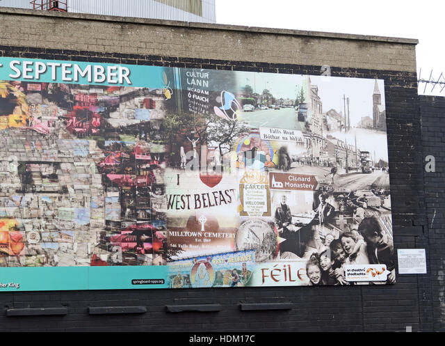 Falls Rd History,Belfast International Peace Wall,Cupar way,West Belfast,NI,UK - Stock Image