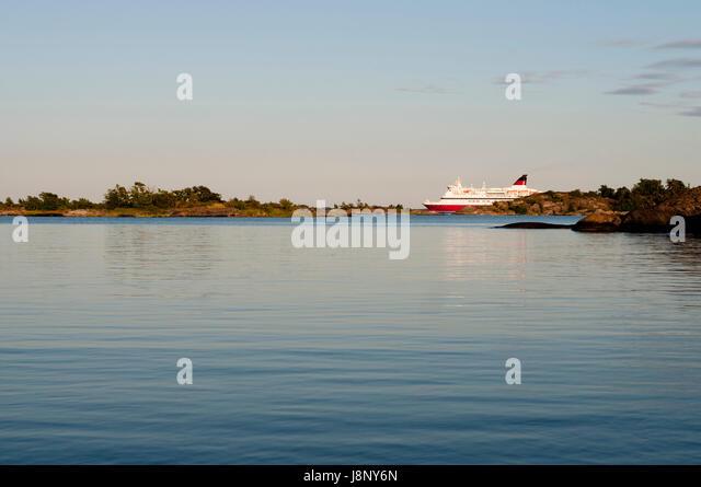 Ferry ship at sunset - Stock-Bilder