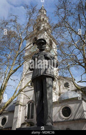 The statue of Royal Air Force Air Chief Marshal Lord Dowding, outside St  Clement Danes