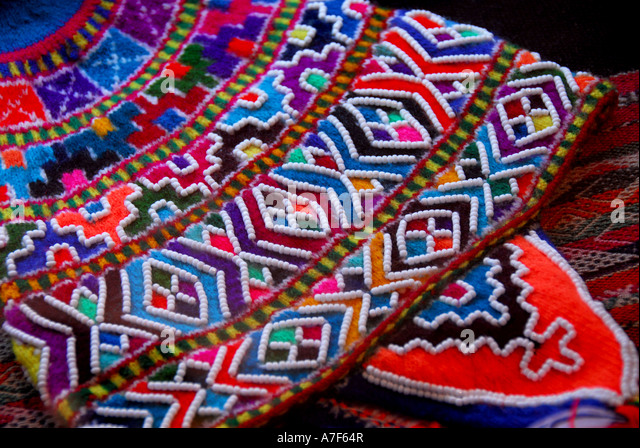 Chile wine country Colchagua Valley colorful traditional clothing beadwork - Stock Image