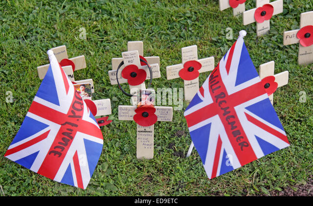Remembrance day Flags / Poppies Warrington Cenotaph Nov 2014, Bridgefoot, Wilderspool Causeway, Cheshire, England, - Stock Image