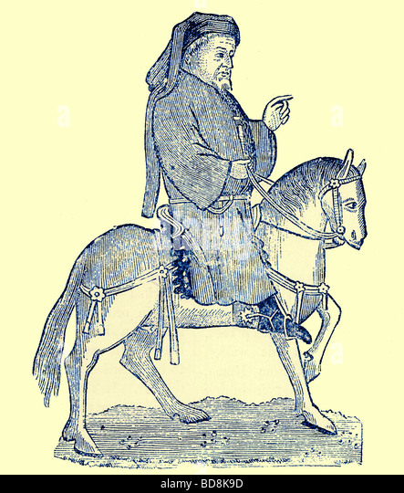 Chaucer as a Canterbury Pilgrim Illustration from Cassell s Illustrated Universal History by Edward Ollier 1890 - Stock Image