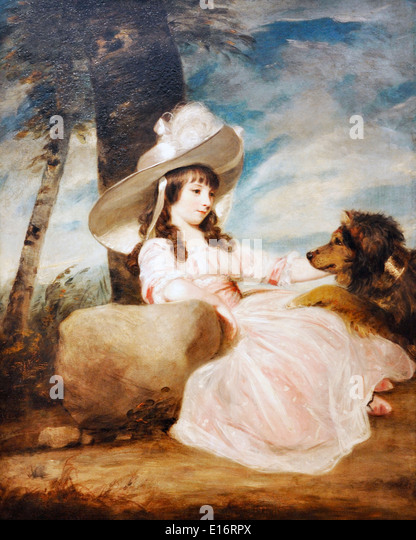 Portrait of Miss Anna Ward with Her Dog by Joshua Reynolds, 1787 - Stock Image