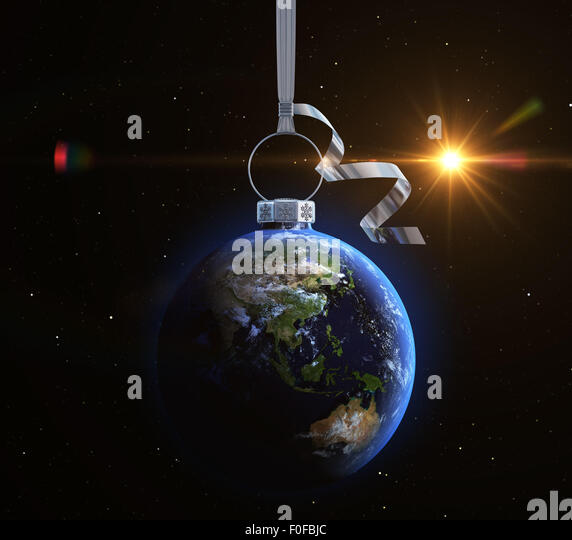 Christmas ball with world map texture. Asia - Stock Image