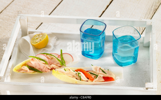 Northern tuna and  pepper Tapas - Stock Image
