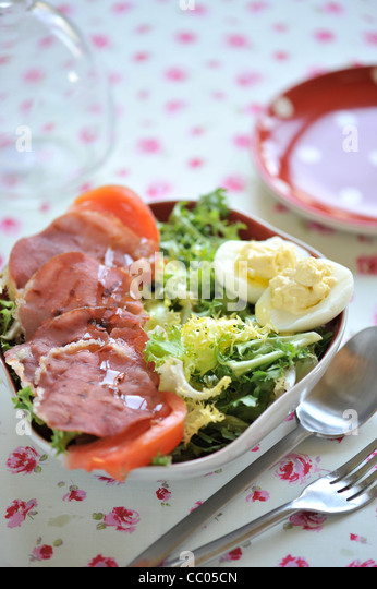 Salad, Bacon and Eggs - Stock Image