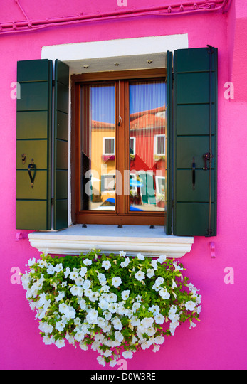 Italy, Europe, travel, Burano, architecture, colourful, colours, tourism, Venice, window - Stock-Bilder