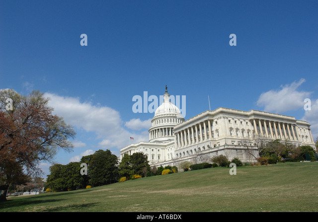 USA Capitol Building on a Bright Sunny Day Viewed From Below Washington DC USA - Stock Image
