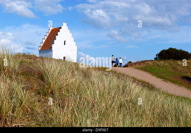 Tower of Den Tilsandede Kirke (Buried Church) buried by sand drifts, Skagen, Jutland, Denmark, Scandinavia - Stock Image