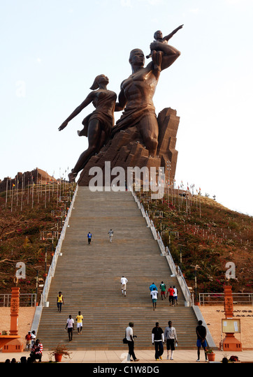Senegal, Dakar: The African Renaissance Monument is one of the biggest statues of the world(49-meter height) - Stock Image