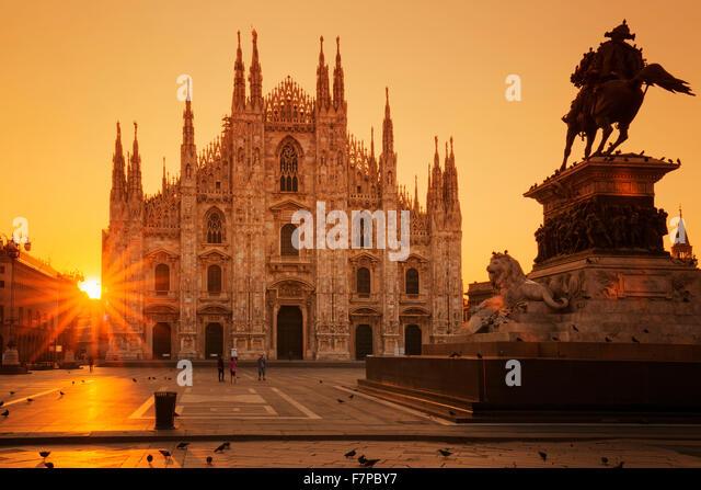 View of Duomo at sunrise, Milan, Europe. - Stock Image