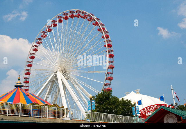 Chicago Navy Pier Ferris Wheel - Stock Image