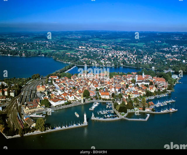 Lindau on Lake Constance, Aerial view, Swabia, Bavaria, Germany - Stock-Bilder