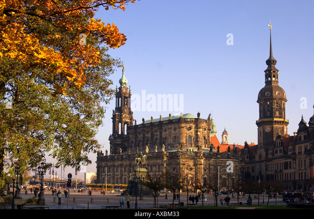 Dresden Theaterplatz theatre square Hofkirche castle autumn - Stock Image