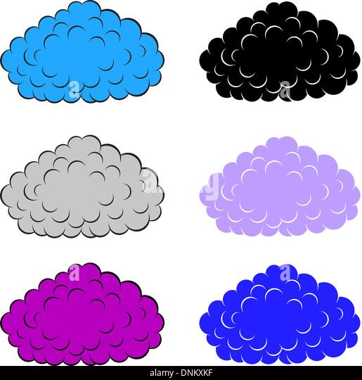 Set of  colorful clouds, vector illustration - Stock Image