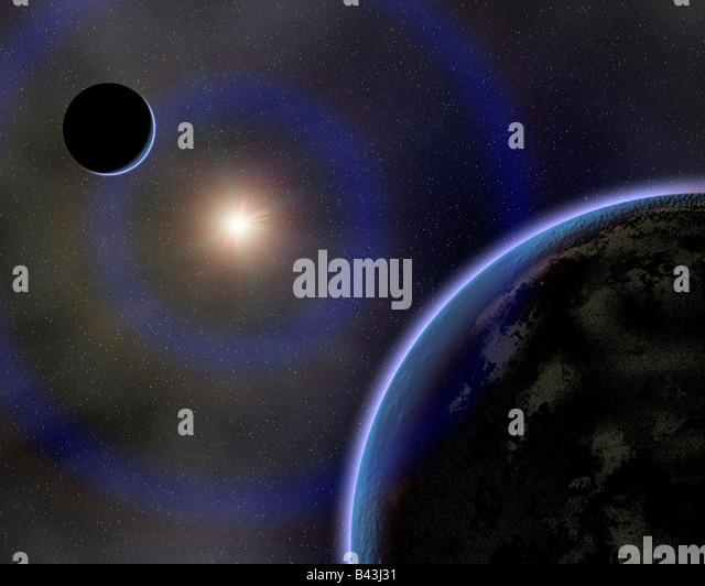 The Earth & Moon In Orbit Around The Sun. - Stock Image