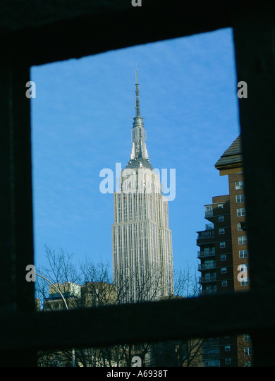 Empire State Building in New York City Copy Space - Stock Image