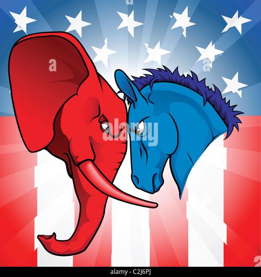 Donkey Versus Elephant Silhouettes