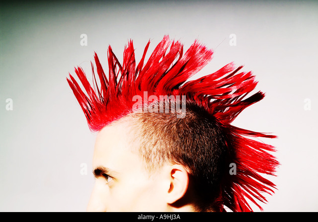 Side view of Punk rocker with red mohican - Stock-Bilder