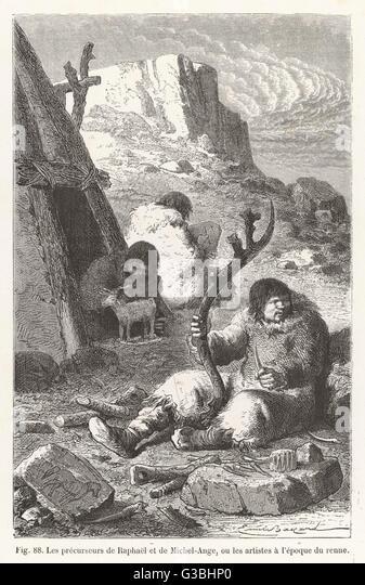 Ice Age carvers.         Date: BCE - Stock-Bilder