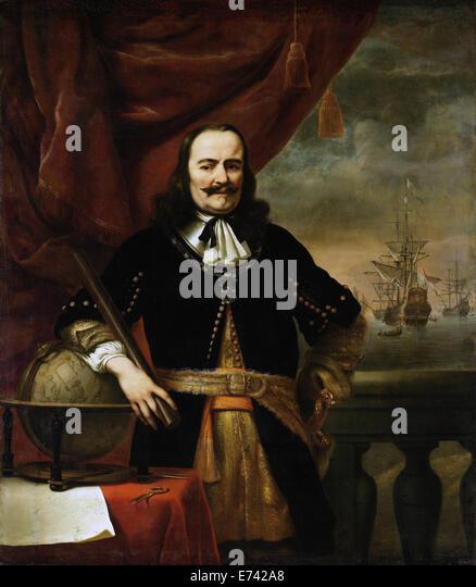 Michiel de Ruyter as Lieutenant-Admiral - by Ferdinand Bol, 1667 - Stock Image