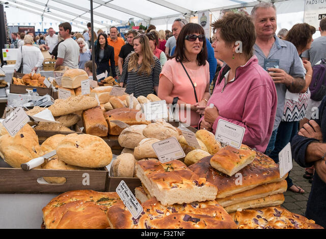 an artisan bread stall at the cornish food festival in truro, cornwall, uk - Stock Image