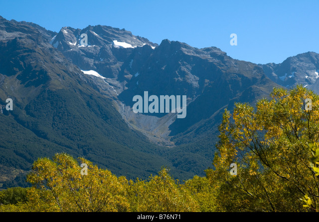 The Humboldt Mountains from the lagoons, near Glenorchy, South Island, New Zealand - Stock Image