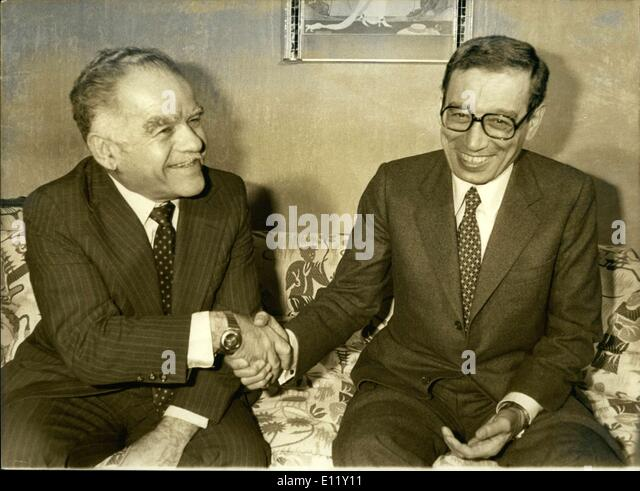 Dec. 04, 1980 - Ghali is Egypt's Minister of Foreign Affairs and Shamir is that of Israel. They met at the Foreign - Stock Image