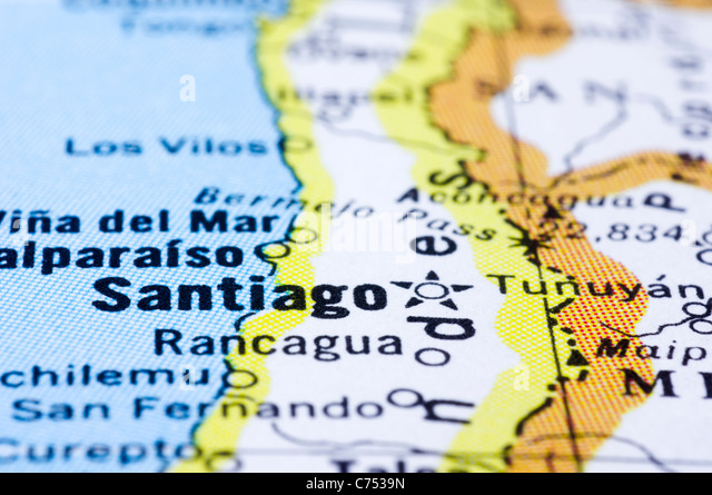 a close up shot of Santiago on map, capital of Chile. - Stock Image