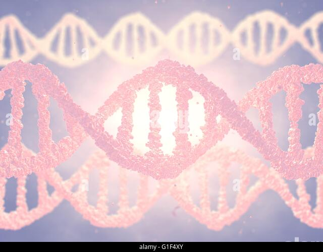 Dna double helix molecules , Genetic engineering - Stock Image