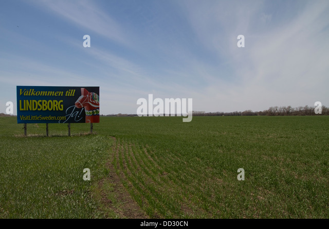 Sign. Welcome to Lindsborg, Little Sweden. Kansas. - Stock Image