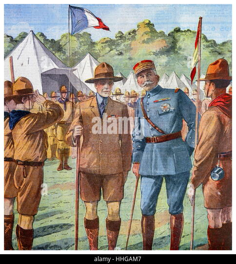 Illustration showing the inspection of French scouts by Edward VIII (then Prince Edward), and General Louis Lyautey - Stock Image