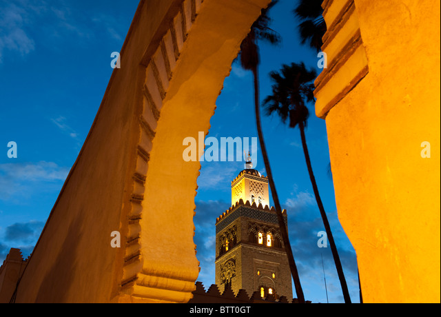 Koutoubia Mosque at Night Marrakech Morocco North Africa - Stock Image