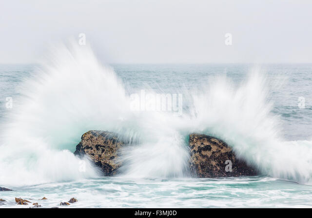 Waves,Seascape,Impact,South Africa - Stock Image