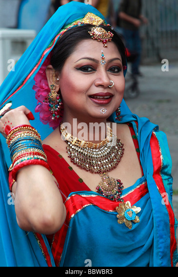 Germany Berlin Carnival of Cultures indian woman in costume - Stock-Bilder