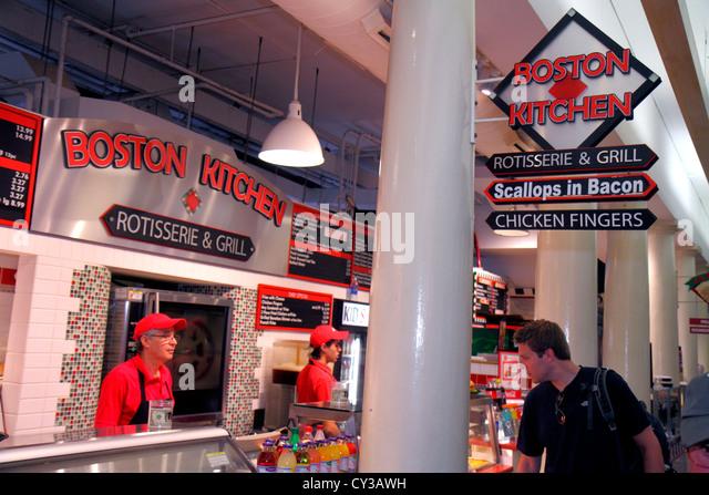 Boston Massachusetts Faneiul Hall Marketplace Quincy Market business Boston Kitchen food vendor counter - Stock Image