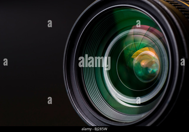 objective with lense reflections. Shot in studio. - Stock Image