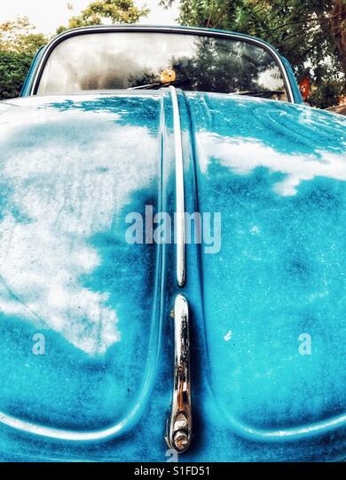 Blue Volkswagen Beetle hood and handle close-up - Stock-Bilder