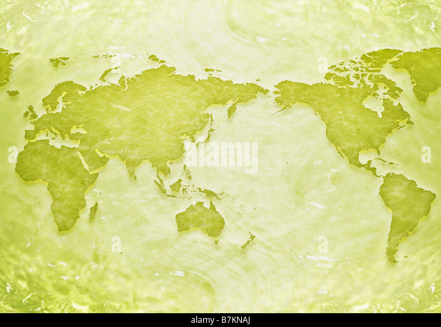 World map and water surface - Stock Image