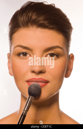 Step 2 - Lips powdering - Stock Image