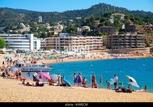 summer on the costa brava, tossa de mar catalonia, espana, spain, - Stock Image