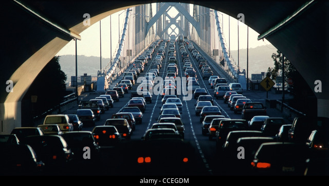 West bound rush hour traffic on the top deck of the San Francisco-Oakland Bay Bridge. - Stock Image