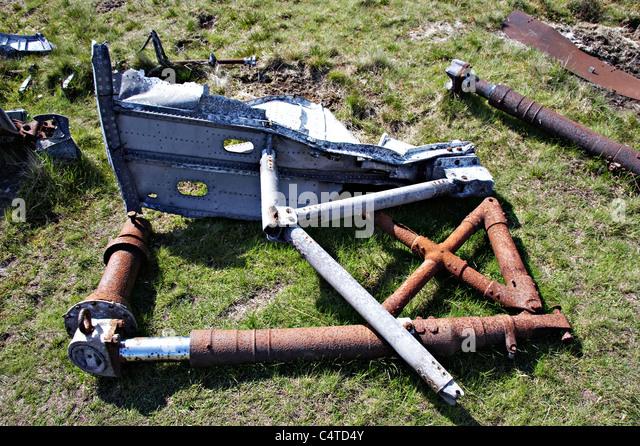 Canadian Word War II War Plane Wreckage on Waun Rydd, Brecon Beacons National Park, Wales - Stock Image