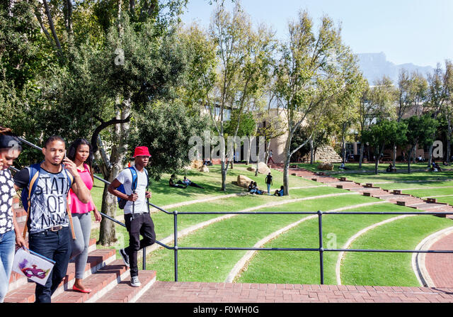 Cape Town South Africa African Zonnebloem Cape Peninsula University of Technology college campus Black woman man - Stock Image