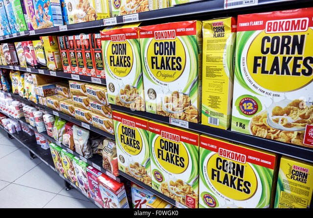 Cape Town South Africa African Woodstock Victoria Road Balmoral Grocery Store supermarket sale display food shelves - Stock Image