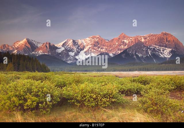 Mt. Sarrail, Mt. Foch, and Mt. Fox and Lower Kananaskis Lake, Peter Lougheed Prov. Park, Kananaskis Country, Alberta, - Stock Image