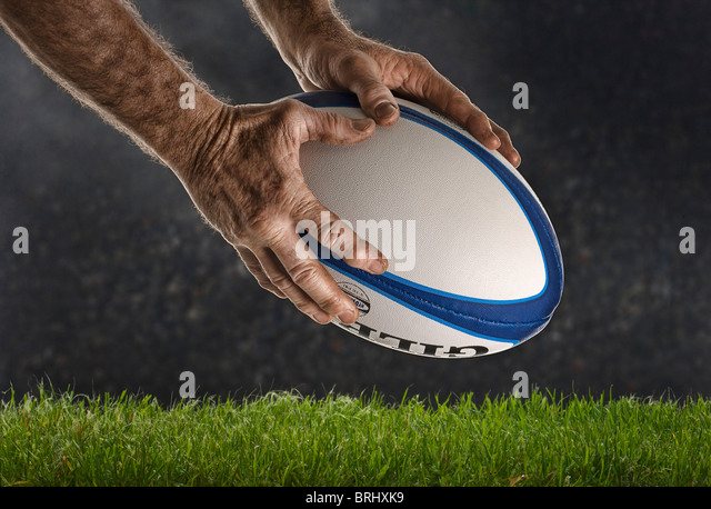 Close-up concept image of Rugby try being scored - Stock Image