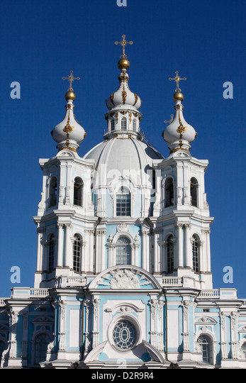 Smolny Cathedral, St. Petersburg, Russia, Europe - Stock Image