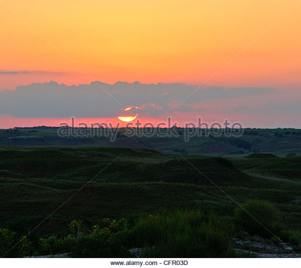 Sunset in the Gypsum Hills, Aetna, KS, July 9, 2010 - Stock Image
