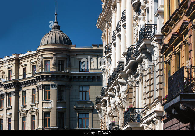 Latvia. The facades of the old buildings with reliefs and balconies on Elizabetes Street in Riga - Stock Image